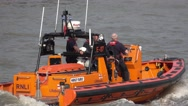 Lifeboat on River Thames in London Stock Footage