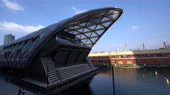 Crossrail Building at Canary Wharf Stock Footage