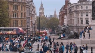 Lots of tourists at Trafalgar Square in London Westminster Stock Footage