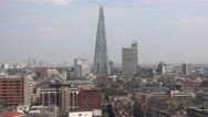 Aerial view over the city of London and The Shard Stock Footage