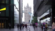 View from More London Riverside to Tower Bridge Stock Footage