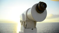Tourist telescope on a cruise ship in the Mediterranean, Europe. Stock Footage