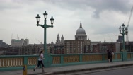 Southwark Bridge over River Thames in London Stock Footage