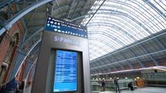 Departure table at London St Pancras International Stock Footage