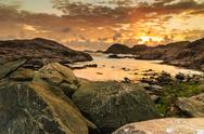 Coastline at sunset in Norway Stock Photos