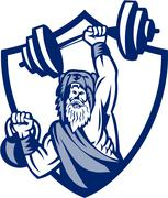 Berserker Lifting Barbell Kettlebell Crest Retro Stock Illustration