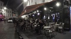 Paris Night Latin Quarter Cafe Stock Footage