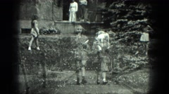 1949: two girls walking jumping playing VENICE, ITALY Stock Footage