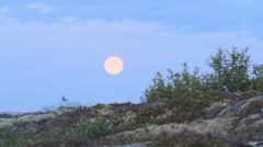 Time-lapse landscape of the moon rising and the Norwegian Sea from Donna island, Stock Footage