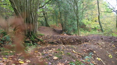 A man jumping on his mountain bike on a singletrack dirt trail through a forest. Stock Footage