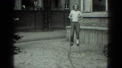 1949: child walking on stilts VENICE, ITALY Stock Footage