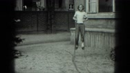 1949: child walking on stilts VENICE, ITALY Stock Footage