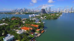 Helicopter tour Venetian Islands Miami Beach Stock Footage