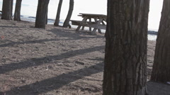 Dutch angle skewed tracking shot of a picnic bench, trees, and shadows. Stock Footage