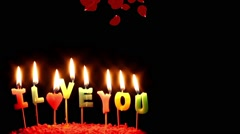 I Love You Candles and Falling Rose Petals Stock Footage
