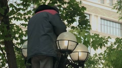 Replacement lamp street lights Stock Footage
