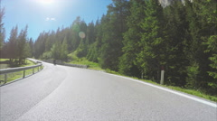 Motorcyclist on Sella Pass in Dolomites, Italy Stock Footage