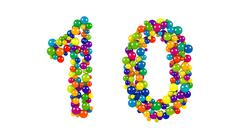 Multi-colored balls in the shape of number ten Stock Illustration