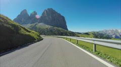 Driving at the top of Sella Pass alpine road Stock Footage