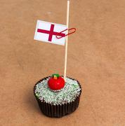 Flag of england on a cupcake Stock Photos