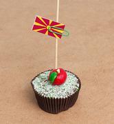 Flag of macedonia on cupcake Stock Photos