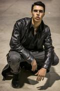 Young Vampire Man with Black Leather Jacket Kuvituskuvat