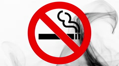 No smoking sign and wave of black smoke on white background Stock Footage