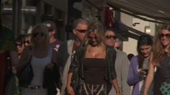 WOMEN WALKING OPPOSITE CROISETTE, CANNES, FRANCE Stock Footage