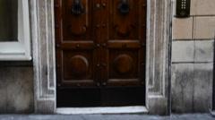 A fancy wooden door in Rome, Italy, Europe Stock Footage