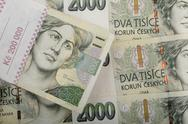 Czech banknotes crowns background Stock Photos