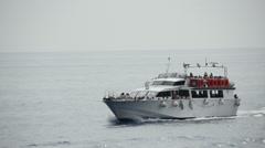 The ferry arriving in Monterosso al Mare in the Cinque Terre region of Liguria, Stock Footage