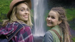 Hikers Look At Waterfall Then Turn And Smile At Camera (3 Times) Funny Stock Footage
