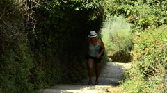 """The trail, known as Sentiero Azzurro (""""Light Blue Trail""""), connecting the five v Stock Footage"""