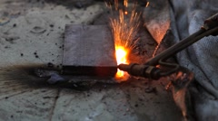 Gas Cutter cutting the steel Stock Footage