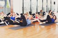 Group of young women in the fitness class Stock Photos