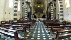 Inside the Church of St. John the Baptist in Monterosso al Mare in the Cinque Te Stock Footage