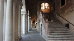 The colonnade and a flight of steps in the Basilica made by Palladio in Vicenza Stock Footage