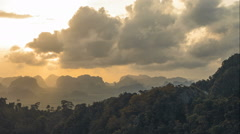 Beautiful views of the Krabi province in the mountain top, Tiger Cave on Evening Stock Footage