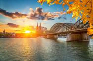 Cologne at sunset Stock Photos