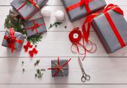 Creative hobby. Handmade tools for making christmas present in box Stock Photos