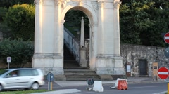 Arco delle Scalette(arch of the little stairs) in Vicenza, tilt up Stock Footage