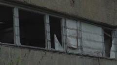 Broken glass in an old building. Derelict abandoned building with broken windows Stock Footage