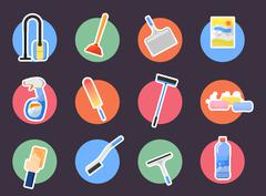 Cleaning icons set Stock Illustration