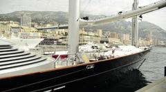 Famous sailing yacht, the Maltese Falcon, in Monte Carlo, Monaco, Europe. Stock Footage