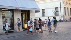 Historical Galla bookshop in Castello Square in Vicenza Stock Footage