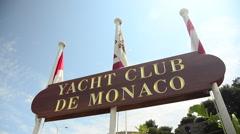 Sign for Yacht Club de Monaco in Monte Carlo, Monaco, Europe. Stock Footage