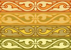 Set abstract decorative borders horizontal vintage style gold Stock Illustration