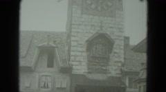 1951: church tower building time clock on front GERMANY Stock Footage