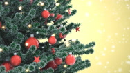 Christmas tree with falling snowflakes Stock Footage