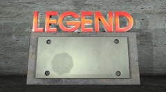 Legend 3-D graphic Stock Footage